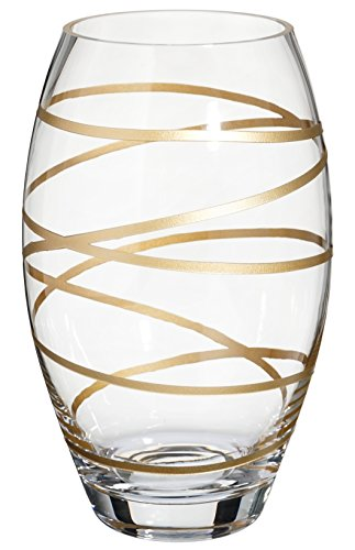 Anna's Exclusive Decor Handmade Barrel Glass Vase - Decorated with Subtly Sandblasted and Painted Golden Stripes - Mouth Blown Lead Free Glass - Decorative Vase Centerpiece - 9.5 inch (24 cm)