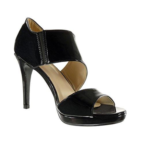 Angkorly - Chaussure Mode Sandale Escarpin sexy plateforme femme brillant lanière Talon haut aiguille 10 CM - Noir