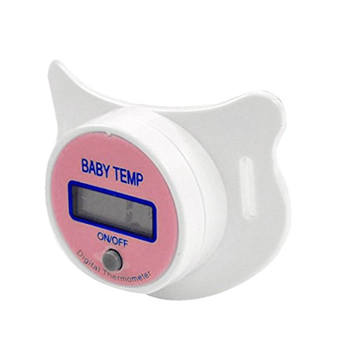 Pink LCD Digital Mouth Oral Pacifier Thermometer for Baby Kid, Meharbour