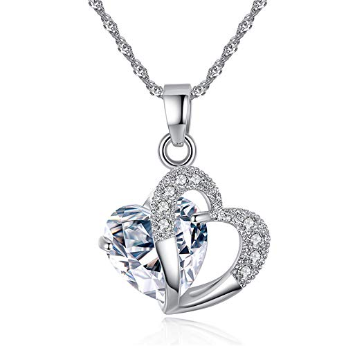 - KOHAKOU Heart to Heart Pendant Necklace with Swarovski Crystals,White Gold Plated,Chian 18''+2''Ext,Jewelry Box,Transparent
