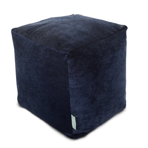 Majestic Home Goods Navy Villa Indoor Bean Bag Ottoman Pouf Cube 17