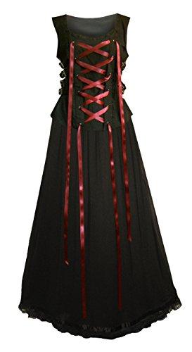 Victorian Valentine Steampunk Gothic Renaissance Women's Laced Top & Skirt (XL, Burgundy / Black)