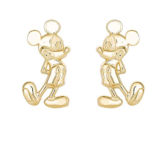 Disney Classic Mickey Mouse 10KT Yellow Gold Stud Earrings; Mickey's 90th Birthday Anniversary Classic Mickey Mouse Earrings