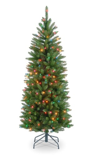 National Tree 4.5 Foot Kingswood Fir Pencil Tree with 150 Multicolor Lights, Hinged (KW7-313-45) (Lit Sale Pre Tree Christmas)