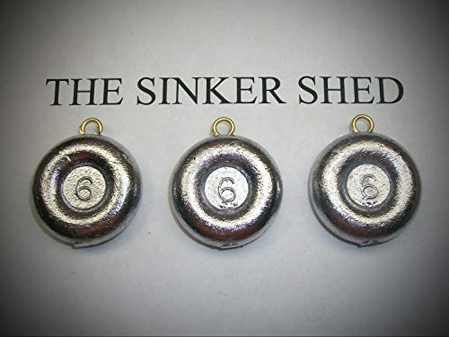 6oz River Coin Sinkers/Decoy Weight - Quantity of 6 Fishing Weights Set Sinker Supplies Gear and -