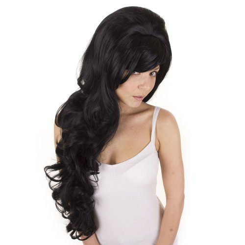Extra Long Black Curly Volume Wig | Amy Winehouse Tribute Wig | Backcombed Black Wig