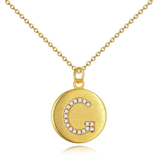 Gold Plated Initial Necklace Sterling Silver Cubic Zircon CZ Monogram Simulated Diamond Disc Necklace G Valentine's Day Gifts Birthday Gifts Anniversary Gifts for Girlfriend Wife Daughter Mom (Letter G Costume Ideas)