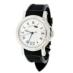 BREGUET MARINE BIG DATE MENS WATCH, 5817ST/12/5V8. CALIBER 5177GG SELF-WINDING AUTOMATIC MOVEMENT. STAINLESS CASE 40MM IN DIAMETER WITH EXHIBITION CASEBACK. STEEL BEZEL WITH SILVER DIAL & SILVER RIM WITH ROMAN NUMERALS. SCREW-DOWN CROWN. ...