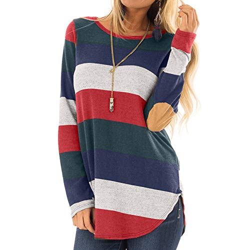 Rakkiss Women Shirt Autumn Winter Stripe Stitching Long Sleeve Loose Coat Sweater