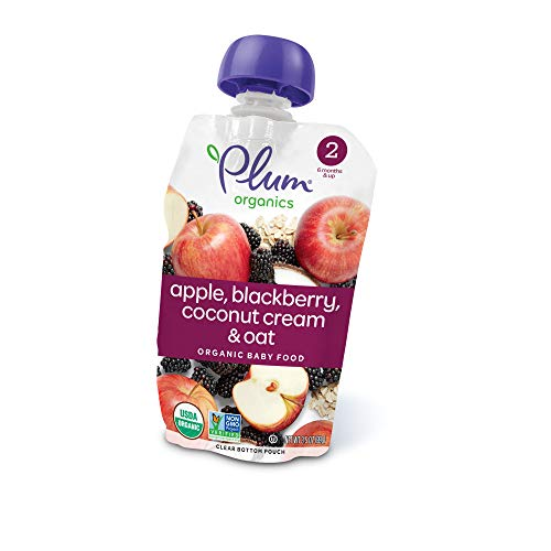 - Plum Organics Stage 2, Organic Baby Food, Apple, Blackberry, Coconut Cream & Oat, 3.5 Ounce pouch (Pack of 12)