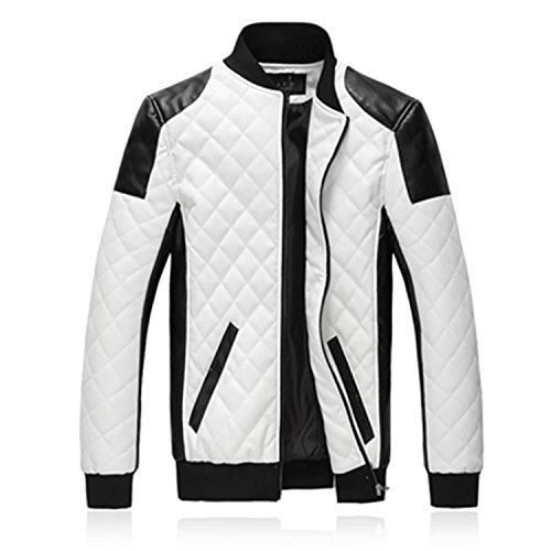 Meetloveyou Slim Men Bomber Jackets Casual Fashion Plaid PU Leather Jacket Men Jaqueta de couro Black White Plus Size 5XL 6XL white 6XL -