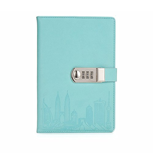 ToiM PU Leather Journal Writing Notebook Fashion Daily Notepad with Combination Lock and Pen Holder, A5 Size Password Diary for Men and Women (Without Chinese Writings) (Lake Blue)