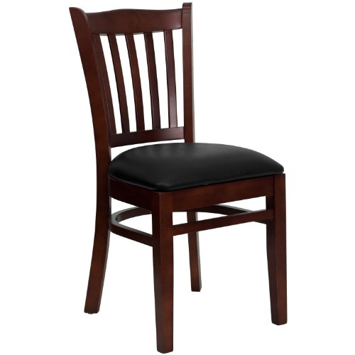 MFO Mahogany Finished Vertical Slat Back Wooden Restaurant Chair - Black Vinyl Seat