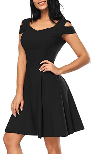 Wedding Guest Dresses for Women, Black Cocktail Dress A-line Sweetheart Cocktail Party Dress for Juniors (Black, XL)