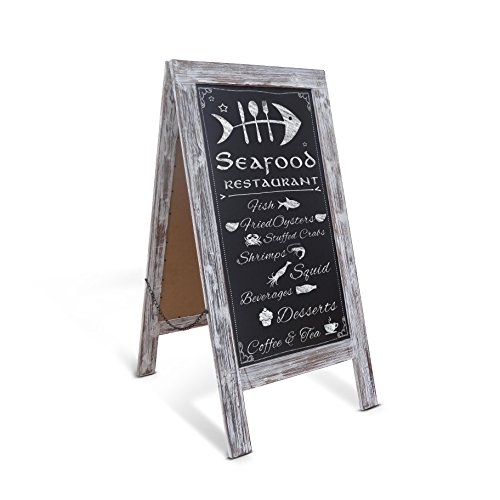 Rustic Vintage Wooden Whitewashed Magnetic A-Frame Chalkboard/Sidewalk Chalkboard Sign/Large 40