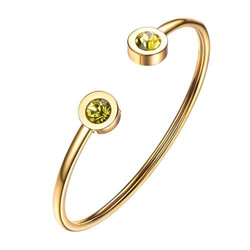 PROSTEEL November Birthstone Topaz Cuff Bracelet 18K Gold Plated Yellow Crystal Bangle Bridesmaid Girls Women Jewelry Birthday Gift