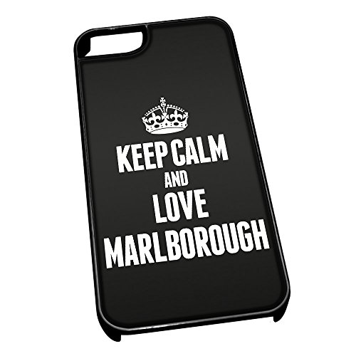 Cover per iPhone 5/5S 0422 Nero Keep Calm And Love Marlborough
