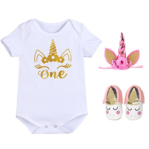 My 1st Birthday Cotton T-Shirt with Headband Shoes for Flower Baby Girls' Birthday ONE 1 Years Outfit Party Princess Clothes Set #5 Short Sleeve Romper+Shoes 12-18 Months -