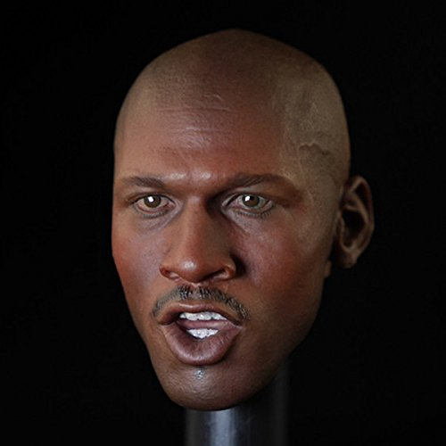 Black Basketball Star Male Carving Action Figure 1/6 Scale Head Sculpt Planted Hair Head
