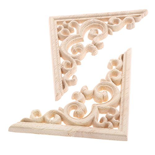MUXSAM 2pcs Vintage Wood Carved Decal Corner Onlay Applique Frame Furniture Wall Unpainted for Home Cabinet Door Decor Craft 11x11cm