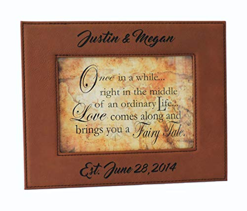 (Forever Me Gifts Photo Frame-Anniverary Gift- Rawhide Leather Picture Frame Customized, Free Engraving (Rawhide))
