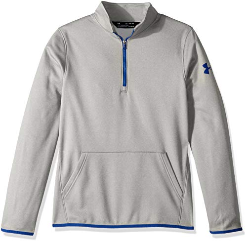 Under Armour Boys Armour Fleece 1/2 Zip, Steel Light Heather (035)/Royal, Youth X-Large