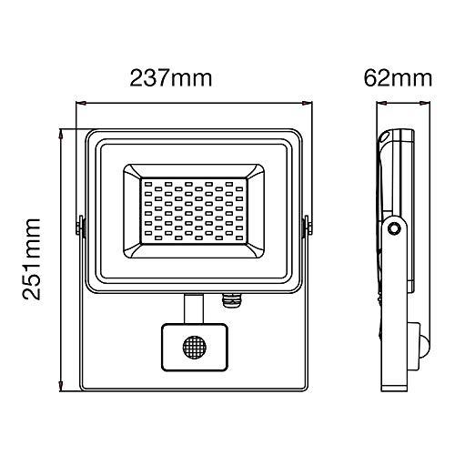 Foco LED 50 W 4250Lm 100 ° V-TAC aluminio Ultra Fina Slim Blanco Sensor PIR + crepuscular IP44 vt-4955 - SKU 5841 blanco natural 4000 K: Amazon.es: ...