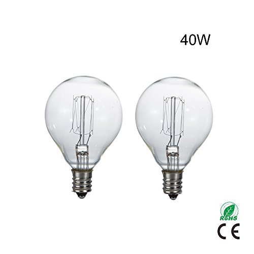 Two 40w Candelabra - G45 40W Globe Bulbs For Scentsy Incandescent Light Bulbs with Candelabra Screw Base For Lamps and String Lights 40W E12 Clear Glass Pack of 2