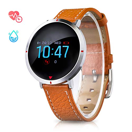 Smart Watch for Women Men, Bluetooth Fitness Tracker Waterproof Leather Touchscreen Round Smartwatch with Heart Rate Blood Pressure Sleep Monitor Notifications for iPhone Android Phones - Brown