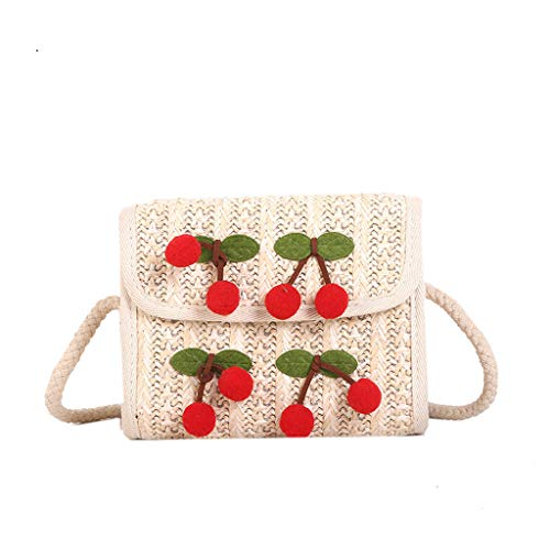 Crossbody Shoulder Bag,AfterSo Woman Summer Straw Weaving Shoulder Bags Ladies Sweet Cherry Beach Crossbody Bag (White)