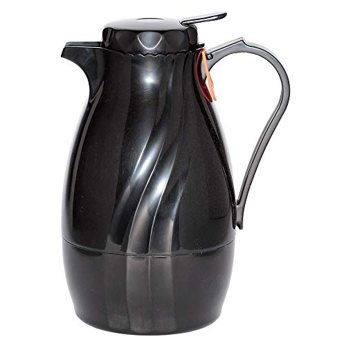 Service Ideas TNSPB40BL 1.2-liter Twist & Serv Coffee Server w/Push Button Lid, Black (Push Server Black Button)
