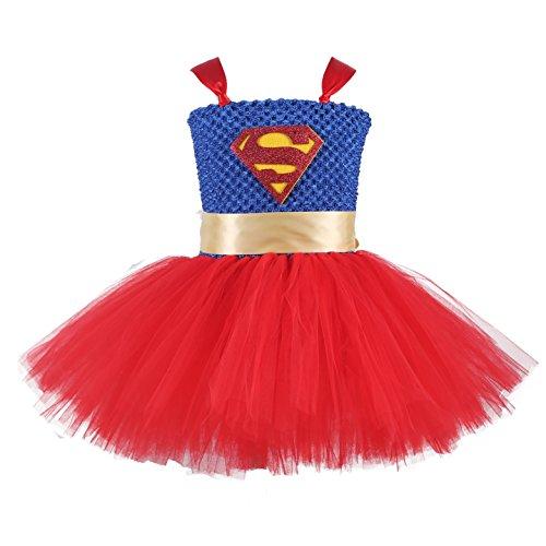 Handmade Superhero Tutu Dress for Girls Birthday Party Halloween Costume Blue with Red