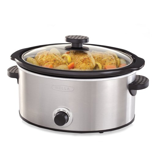 BELLA 13717 Slow Cooker, 5-Quart, Stainless Steel