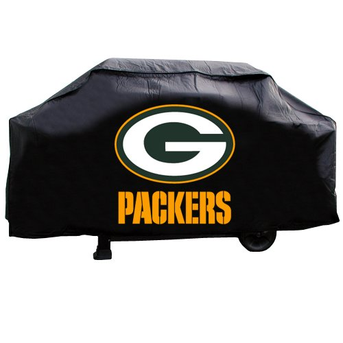Standard 68 Gold (JA 21 X 35 X 68 Inches NFL Packers Grill Cover, Football Themed Weather Resistant Vinyl Gas Barbeque Smoker Protector, Team Logo Fan Merchandise Athletic Team Spirit Fan, Green Gold Black)
