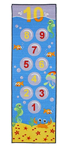 Playmat Play Rug Number Hopscotch Educational Area Rug for Kids, Babt, Toddler, 24x76