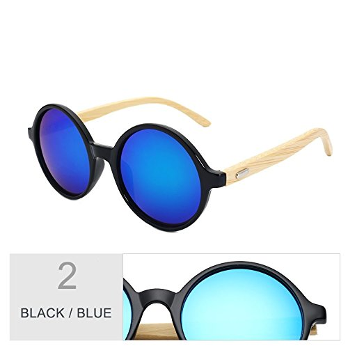 Sol Vintage Para De Sol Madera Gafas Redondo Steampunk Negro De De Black De De Blue Hombres Mujeres Mujer Bambú TIANLIANG04 Regreso Azul Gafas En qztCCT