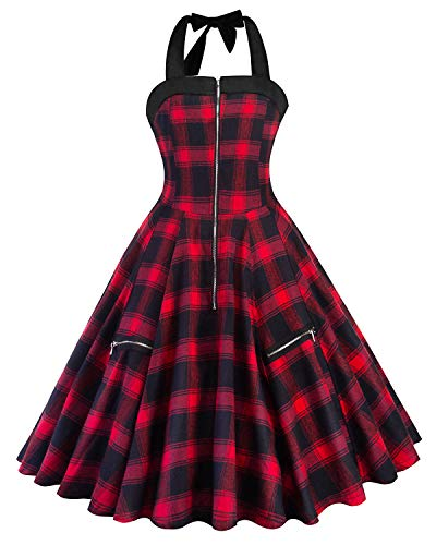 S Purple Dress Women's Vintage Neck Plaid Party Gown 50s Rockabilly Cocktail Halter Dress Tea ZAFUL Swing Red OqfTx