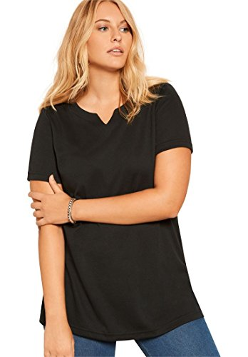 Roamans Women's Plus Size Notch Neck Tunic - Solid Colors Black,1X