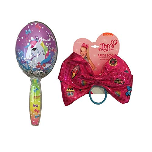 JoJo Girls Siwa Signature Collection Confetti Glitter Paddle Hair Brush & Large Elastic Ponytail Hair Bow (Unicorn Rainbow Brush & Large Bow)