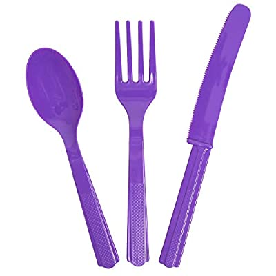 Scooby Doo Party Supplies for 16 Guests - Includes 16 Dinner Plates, 16 Dessert Plates, 16 Dinner Napkins, 1 Tablecover, 8 each Purple and Green Knives Forks and Spoons, Bundle: Toys & Games