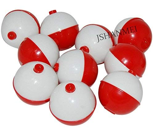 JSHANMEI Fishing Bobbers Hard ABS Snap-on Floats Red & White Push Button Round Float Bobbers Fishing Tackle Accessories (2inch (Pack of 6))