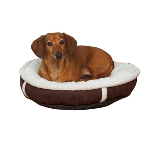 Slumber Pet Polyester Sherpa Donut Dog Bed, Large, 28-Inch, Chocolate (Donut Pet Sherpa Slumber)