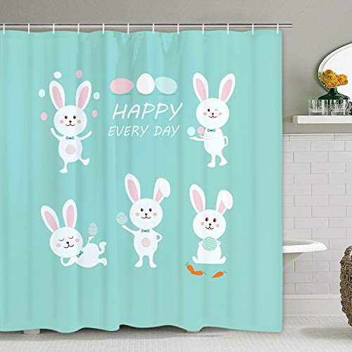 Easter Cartoon Shower Curtain Happy Easter Day, Funny Rabbit and Easter Egg Shower Curtain with 12 Hooks, Durable Waterproof Shower Curtain for Bathroom