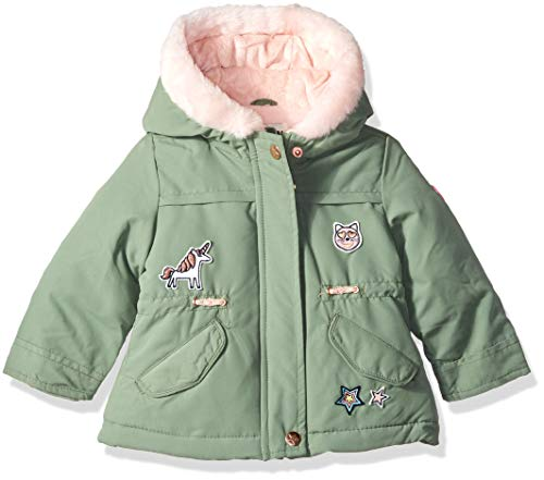 - Osh Kosh Baby Girls Pretty Cool Parka Jacket, Acadia Green/Grace Pink Patches, 18M