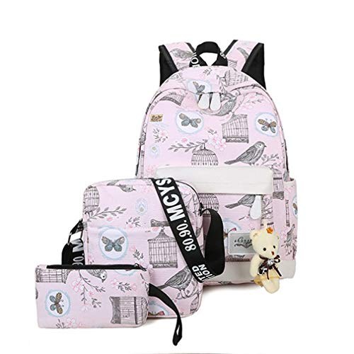 Bear W14cm H40cm 3Pcs Bag Gift Canvas Pink L32cm Backpacks Set Women School Backpack Blue wIPp1x