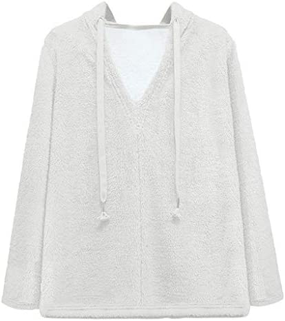 IXnzadn Women`s Blouse Womens Fuzzy Fleece Pullover Sweater Jacket Outwear Long Sleeve V Neck Hooded Sweatshirt / IXnzadn Women`s Blouse Womens Fuzzy Fleece Pullover Sweater Jacket Outwear Long Sleeve V Neck Hooded Sweatshirt