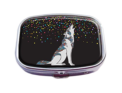 - Top A Wolf Custom Personalized Square Pill box Decorative Box Vitamin Container Pocket Or Wallet (Wolf-8)