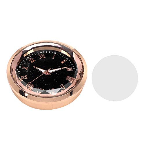 Terisass Car Dashboard Clock Auto Interior Watch Stick-On Clock Universal Pocket Mini Electronic Clock with Double Sided Adhesive Tape Perfect Decoration for Cars SUV(Gold Color)
