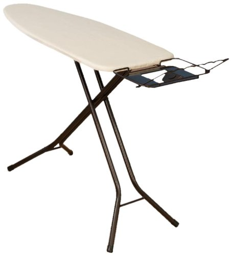 Household Essentials 974406-1 Extra Wide Top 4-Leg Large Ironing Board | Natural Cotton Cover and Iron Holder Stand | Bronze - Hide Top Bar