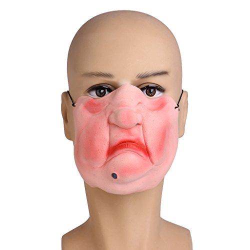 Jigsaw Killer Costumes (EA-STONE Novelty Latex Rubber Creepy Halloween Costume Party Grimace Half Face Mask -Sumo)